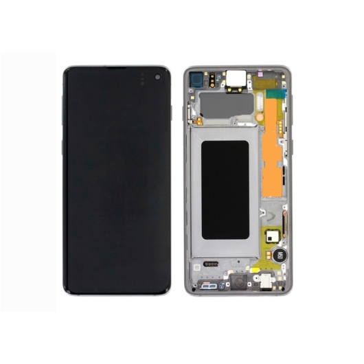 Samsung SM-G973 Galaxy S10 LCD kijelző / képernyő + érintőképernyő - prizmafehér